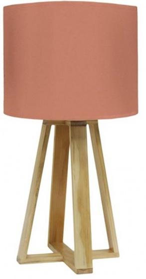 tafellamp 23 x 48 cm textiel/hout oranje/bruin