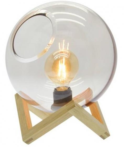 tafellamp 25 x 32 cm hout/glas bruin 3-delig