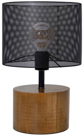 tafellamp 25 x 36 cm hout/staal zwart/bruin