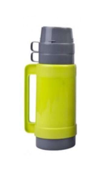 thermoskan 1 liter grijs/groen 3-delig