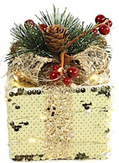 decoratie cadeaubox led 20 cm goud