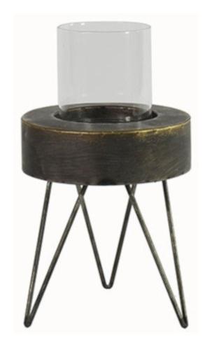 kaarsenhouder Elcke 17 x 20 cm staal grijs