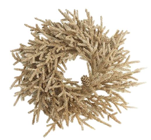 kerstkrans Farlow 33 cm zijde bruin