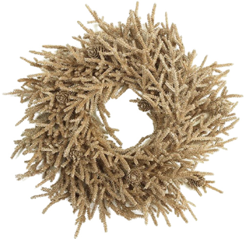 kerstkrans Farlow 40 cm zijde bruin