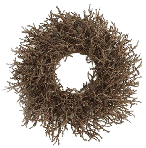 Countryfield kerstkrans Forest 30 cm zijde donkerbruin