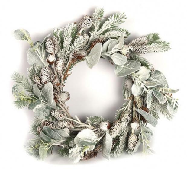 Countryfield kerstkrans Kalwa 40 cm groen/wit