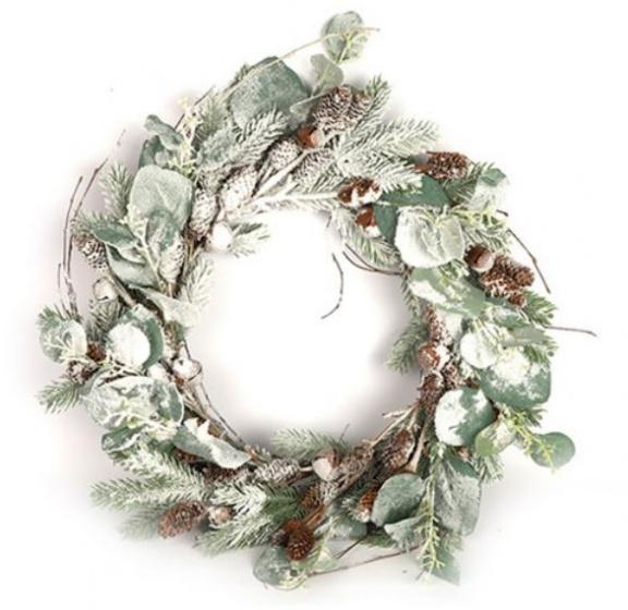 Countryfield kerstkrans Karitta 30 cm groen/wit