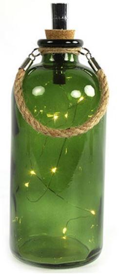 lampenfles Collin 8 leds 11 x 25 cm glas groen