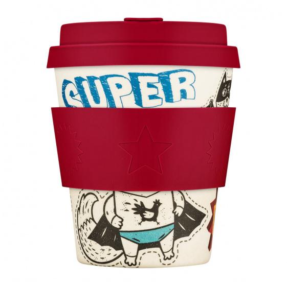 beker Superhero Fuel bamboe/siliconen 250 ml rood