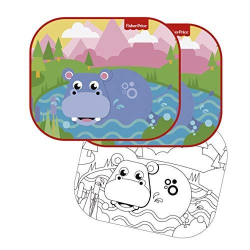 zonnescherm nijlpaard 44 x 36 cm 2 stuks + kleurplaat