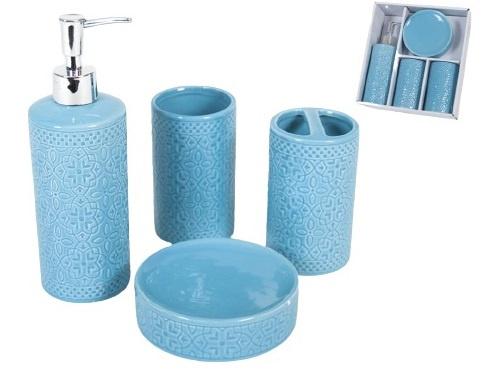 badkameraccessoire-set keramiek blauw 4-delig