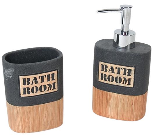 badkamerset 350 ml 9 x 17,5 cm hout/steen grijs/bruin