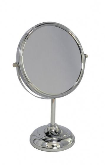spiegel dubbelzijdig 34 cm staal/glas zilver