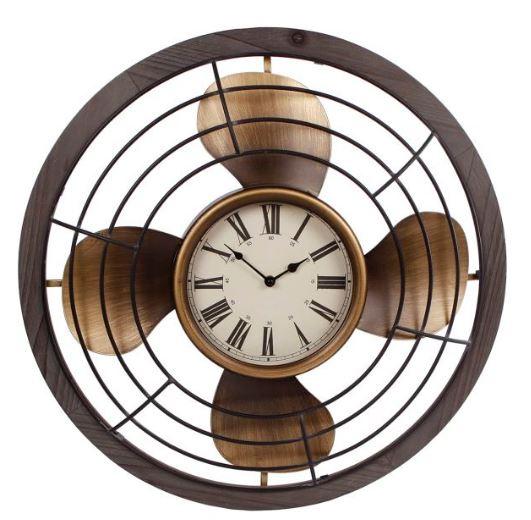 wandklok Fan 60 x 6 cm staal bruin/goud