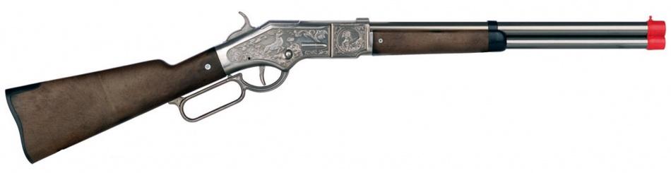 Speelgoed geweer cowboy 8 schots groot zilver
