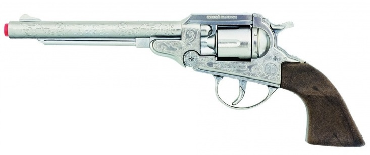 Speelgoed revolver cowboy 8 schots 27,5 cm zilver
