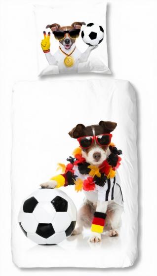 dekbedovertrek Soccerdog 135 x 200 cm katoen wit