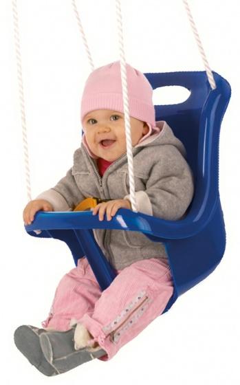 babyschommelzitje met touw 45 cm blauw