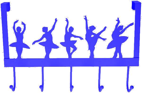 deurhanger kapstok ballerina blauw 27x39x9cm 5haaks