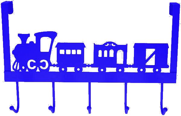 deurhanger kapstok trein blauw 28x31x9cm 5haaks