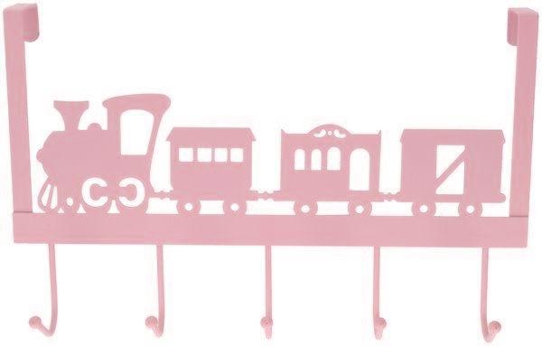 deurhanger kapstok trein roze 28x31x9cm 5haaks