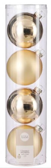 kerstballen 10 cm glas champagne 4 stuks
