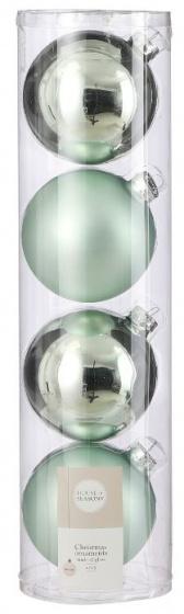 kerstballen 10 cm glas mintgroen 4 stuks