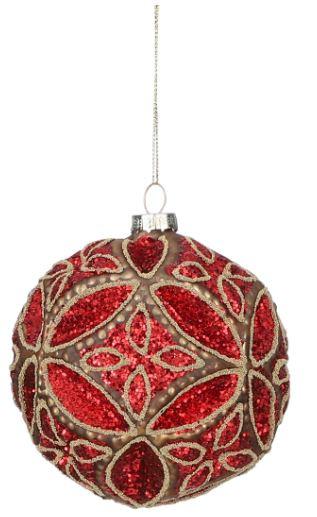 kerstbal Ornament 10 cm glas rood/zilver
