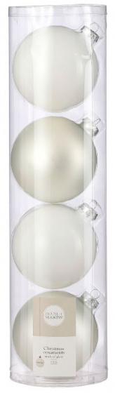 kerstballen 10 cm glas wit 4 stuks