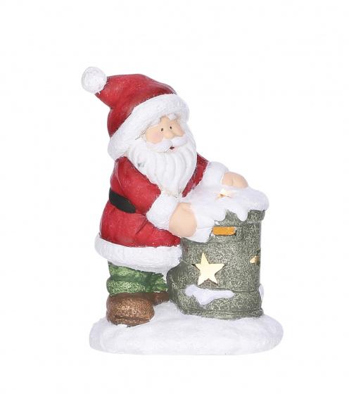 kerstfiguur 12,5 x 9 cm keramiek rood