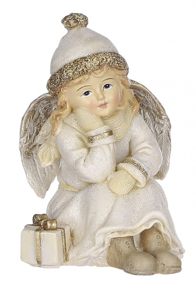 kerstfiguur engel cadeautje 8,5 x 10,5 crème