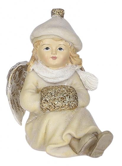 kerstfiguur engel handschoen 8,5 x 10,5 crème