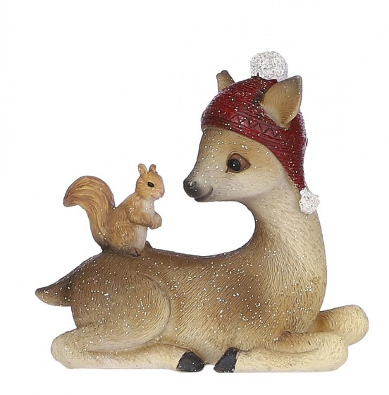 kerstfiguur hert eekhoorn 11 x 10 cm keramiek