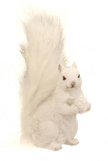 ornament eekhoorn 12 cm keramiek wit