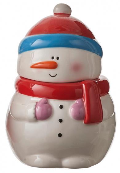 voorraadpot Sneeuwpop keramiek 20 cm wit