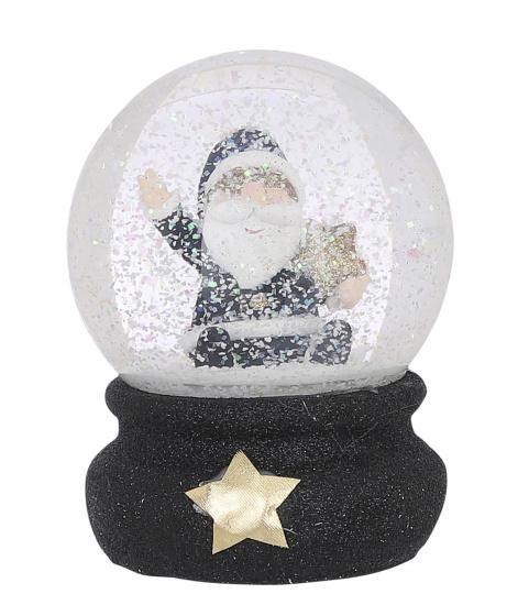 waterbal Kerstman 12 cm glas/keramiek zwart/wit