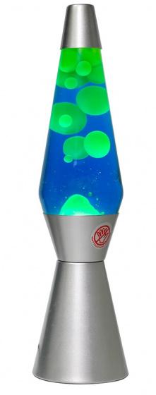 lavalamp 40 x 11 cm glas/aluminium zilver/blauw
