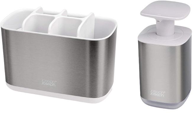 badkameraccessoire-set RVS zilver/wit 2-delig