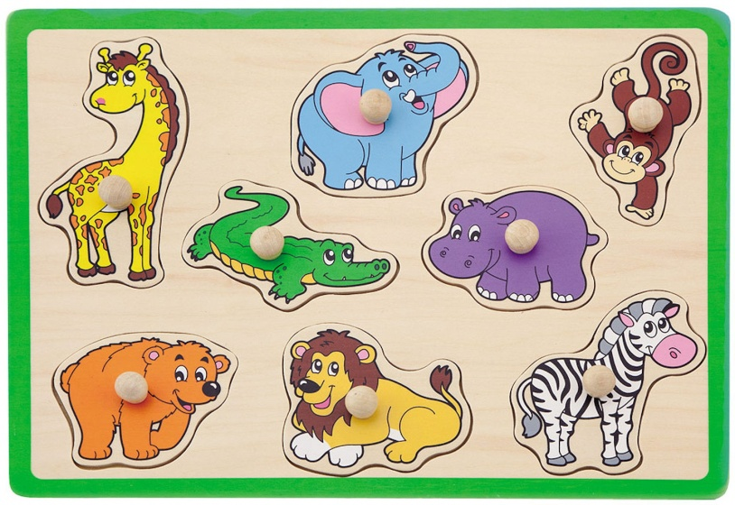 vormenpuzzel Safaridieren junior hout 8 stukjes