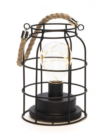 lantaarn led 18 x 12 cm staal zwart