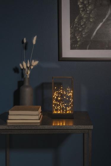 lantaarn led 20 x 11 cm hout/glas/staal zwart