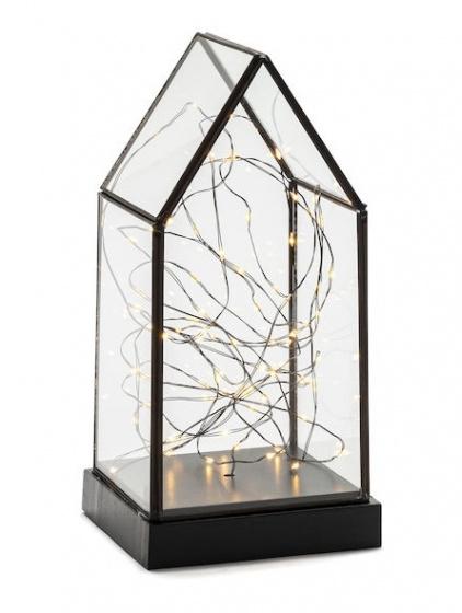 lantaarn led 24,5 x 11 cm hout/glas/staal zwart