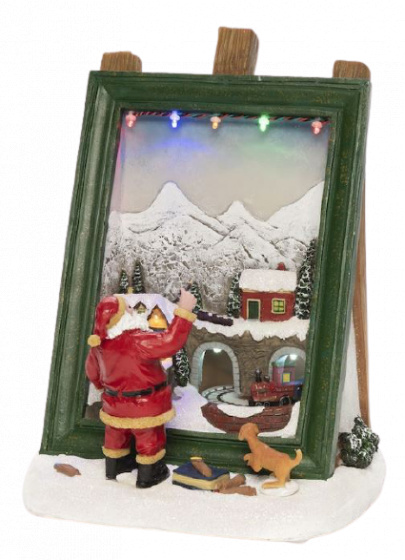schilderij kerstman led 27 x 20,5 cm polyresin