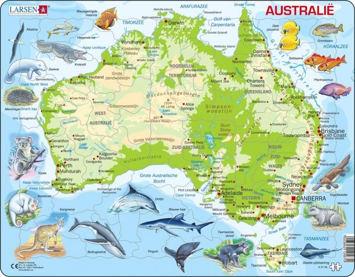 legpuzzel Maxi Australië geografie en dieren 64 stukjes