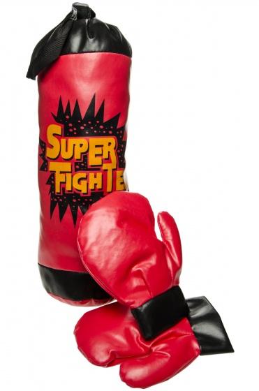 Super Fighter bokszak met 2 handschoenen rood 40 cm