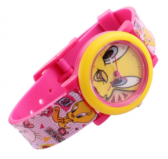 analoog horloge Tweety roze/geel