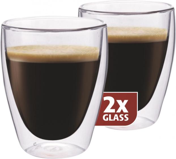 koffieglas dubbelwandig 10,5 cm glas transparant 2 stuks