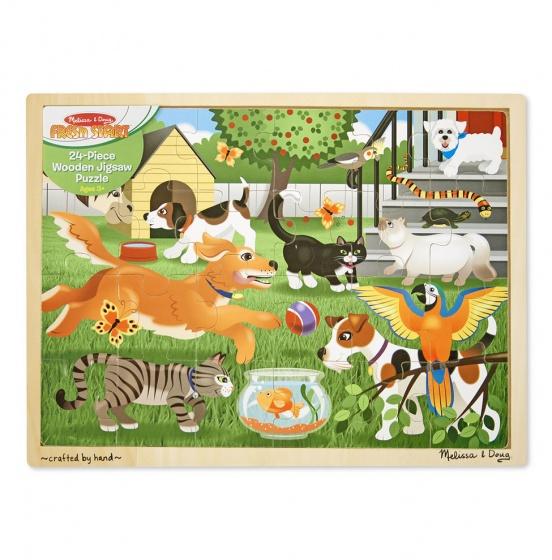 houten puzzel huisdieren 24-delig