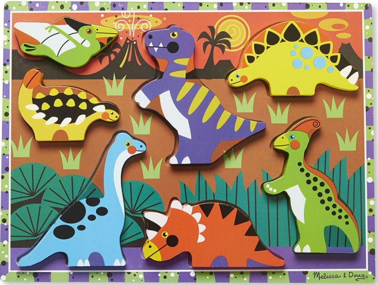 vormenpuzzel Dinosaurs Chunky junior hout 7 stukjes