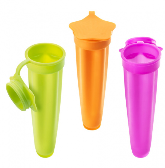 ijsvormen 20 cm siliconen roze/oranje/groen 3 stuks